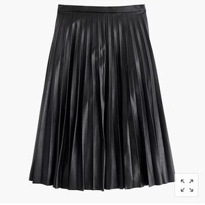 J. Crew Faux-leather pleated midi skirt